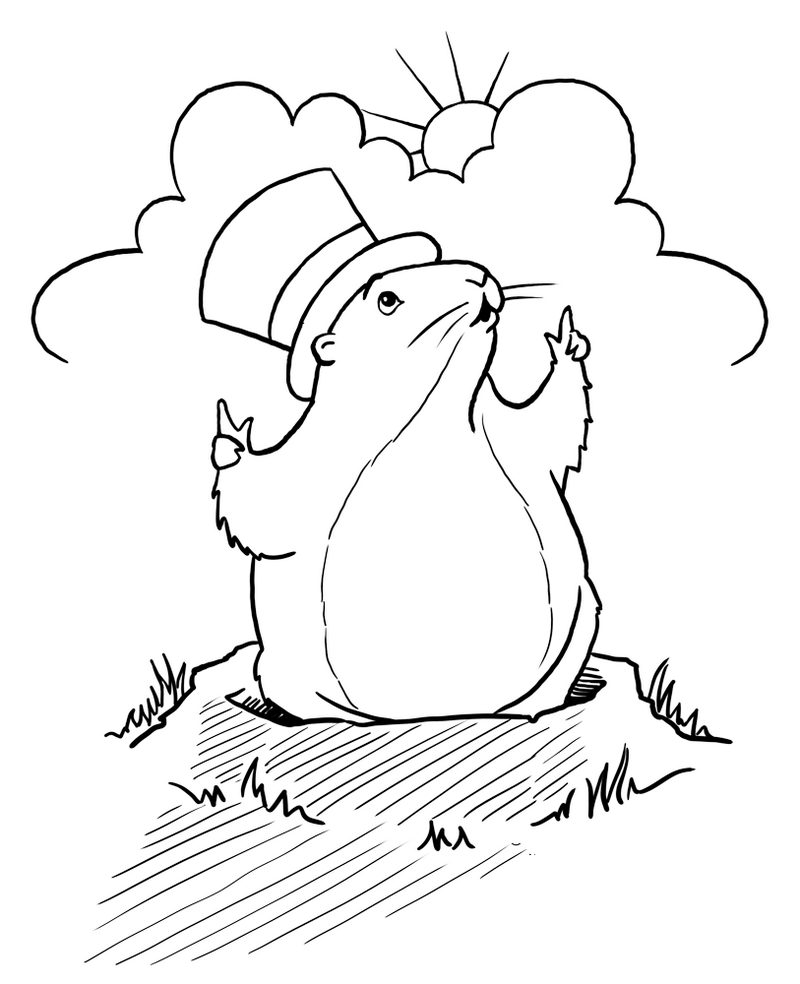 cartoon groundhog day coloring pages