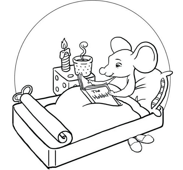 cartoon mouse reading a magazine in bedroom coloring line art drawing sheet