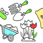 complete garden tools coloring picture