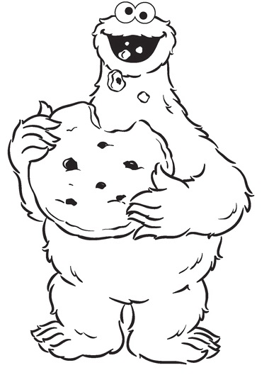 cookie monster blue fur coloring page for