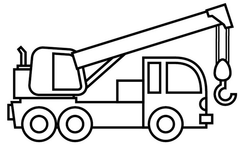 crane truck cartoon coloring sheet for kids