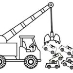 crane truck towing and carrying cars coloring sheet for children