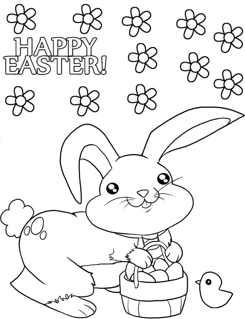 cute easter bunny coloring sheet online