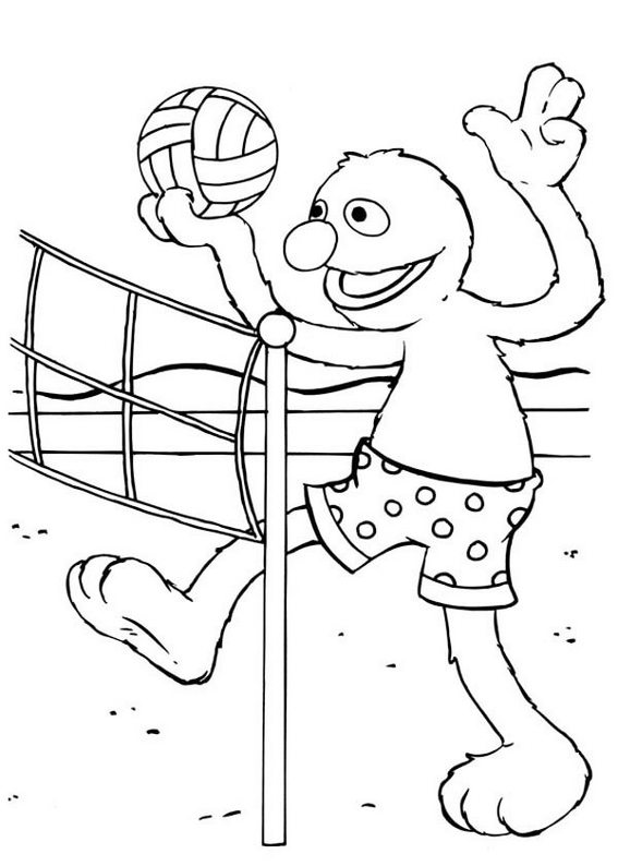 cute sesame street elmo playing volleyball coloring picture