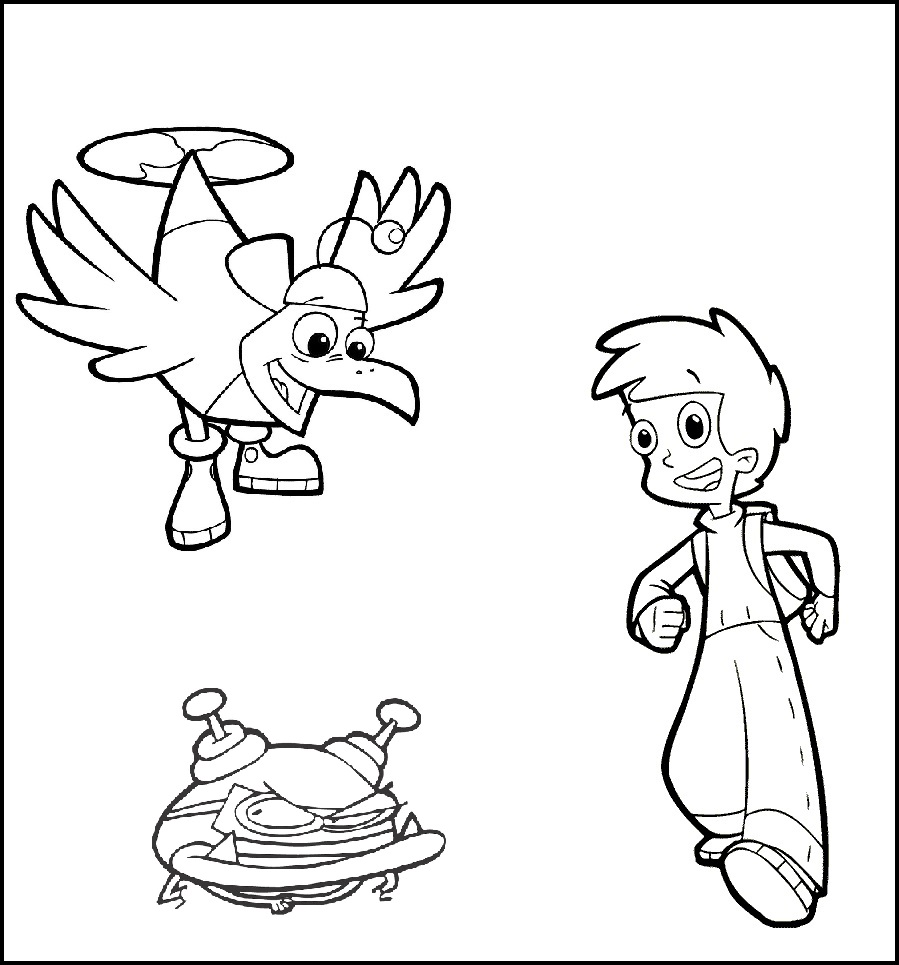 digit buzz and matt cyberchase coloring sheet for children