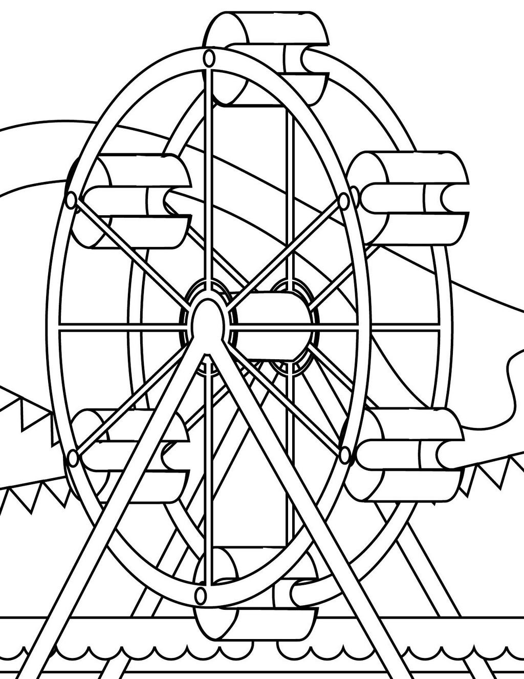 fun ferris wheel coloring sheet for kids