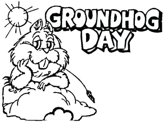 fun groundhog coloring page online