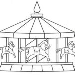 fun carousel coloring sheet for little kids