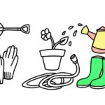 garden tools and farming equipments coloring pages for children