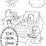 get well soon care bears themed coloring sheet