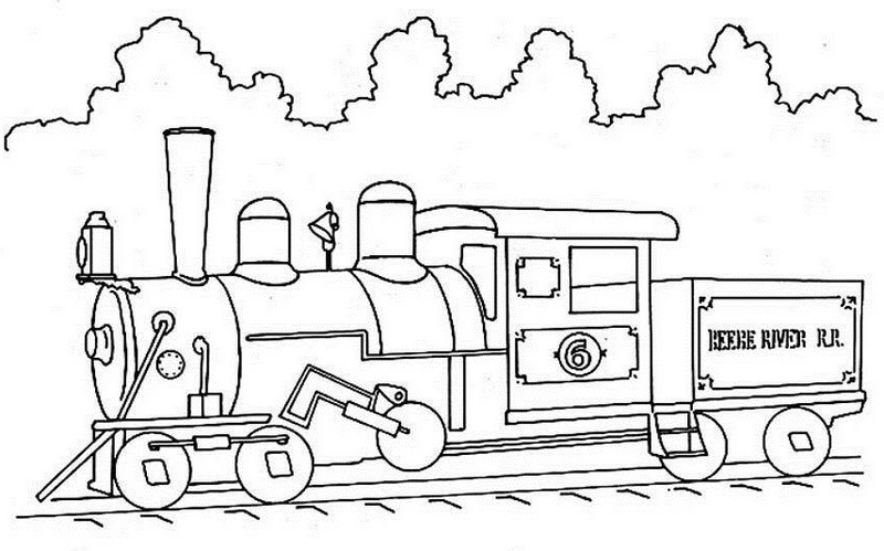 steam locomotive coloring pages - high detailed steam train coloring page