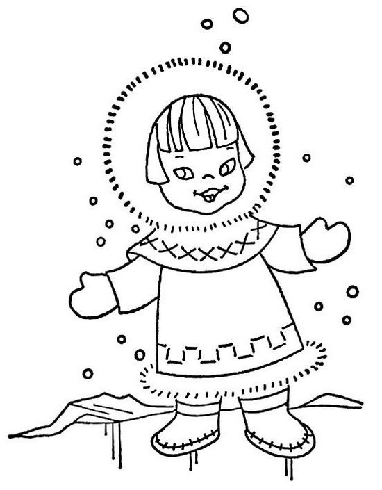 little eskimo girl playing snow coloring page