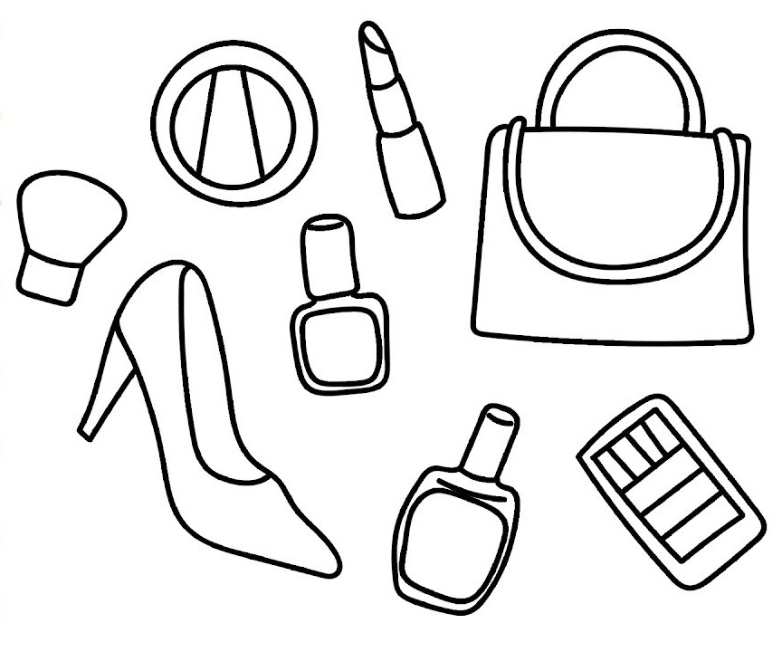 makeup and fashion style coloring sheet