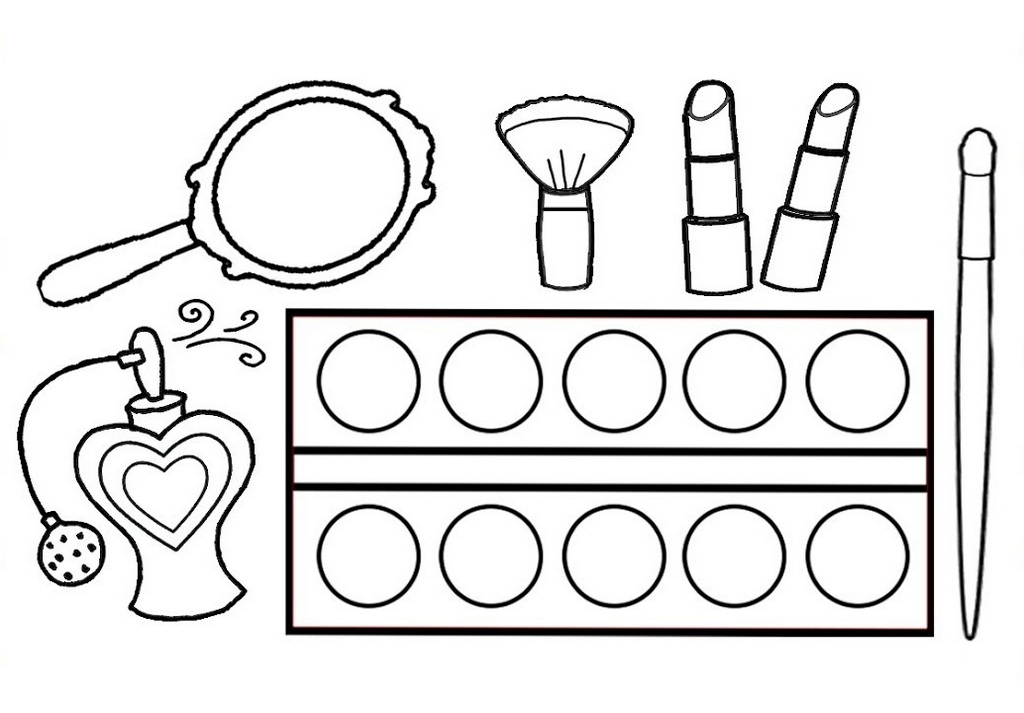Makeup Kit Set Coloring Sheet