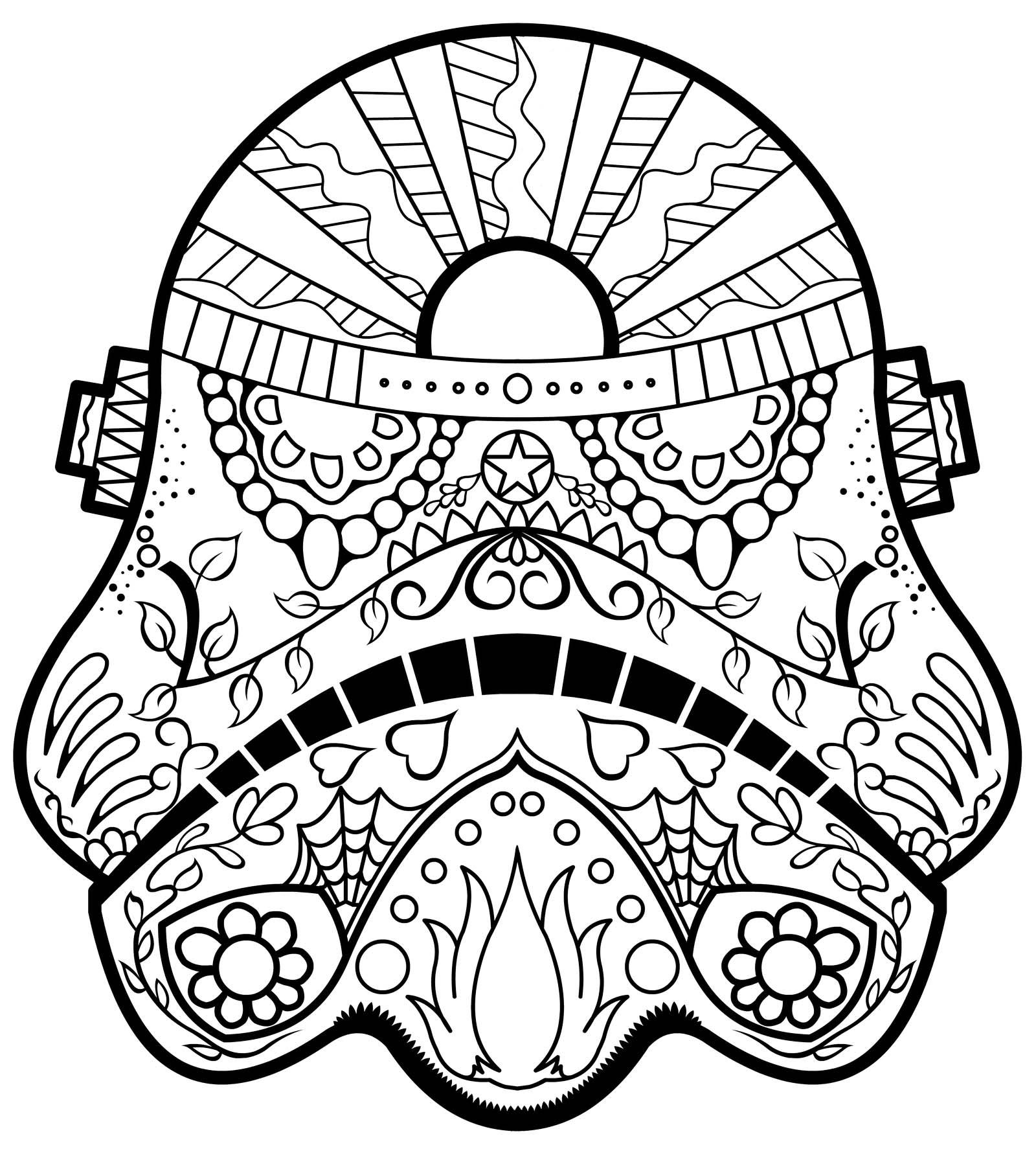mandala stormtrooper helmet coloring page