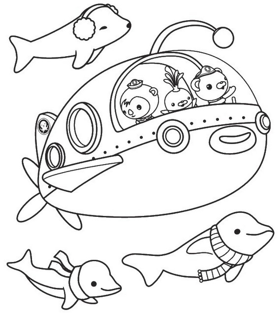 octonaut operating submarine coloring page