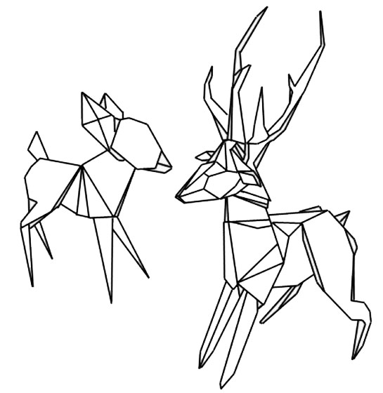 origami dog and deer coloring page