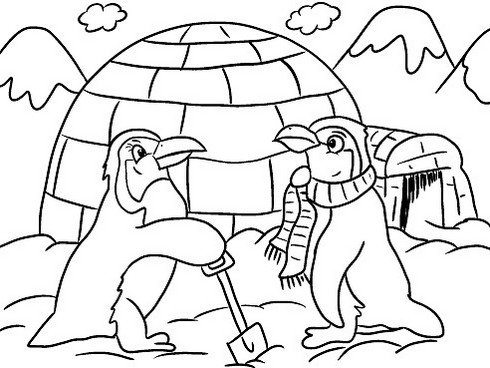 penguins building igloo cartoon coloring winter themed page