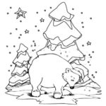 polar bear Christmas coloring sheet for kids