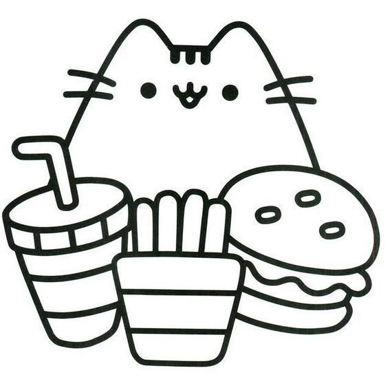 pretty cute pusheen coloring page