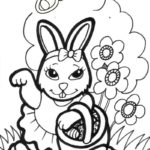 pretty girl easter bunny coloring sheets