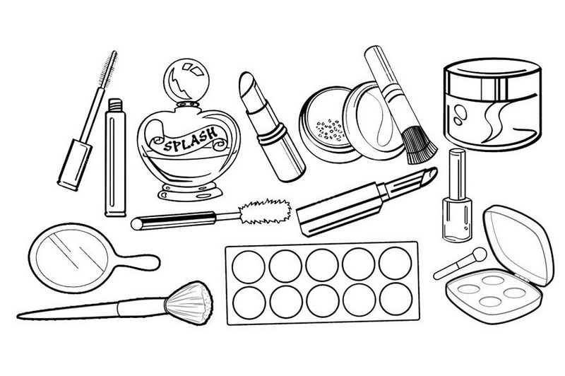Professional Cosmetics Makeup Kit Coloring Sheet