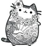pusheen mandala floral coloring picture