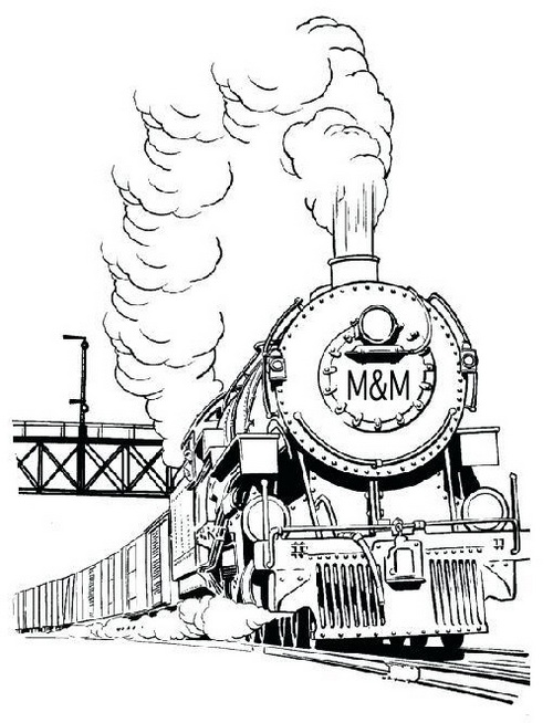 realistic steam train coloring picture