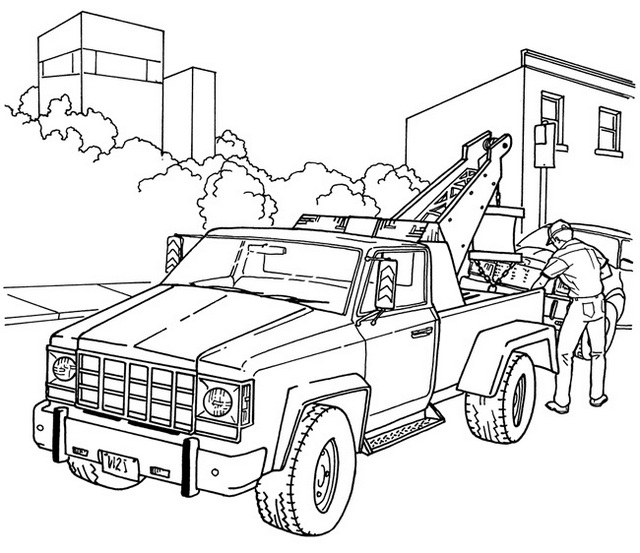 semi realistic tow truck coloring sheet