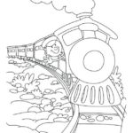 steam train cartoon coloring sheet for preschool children