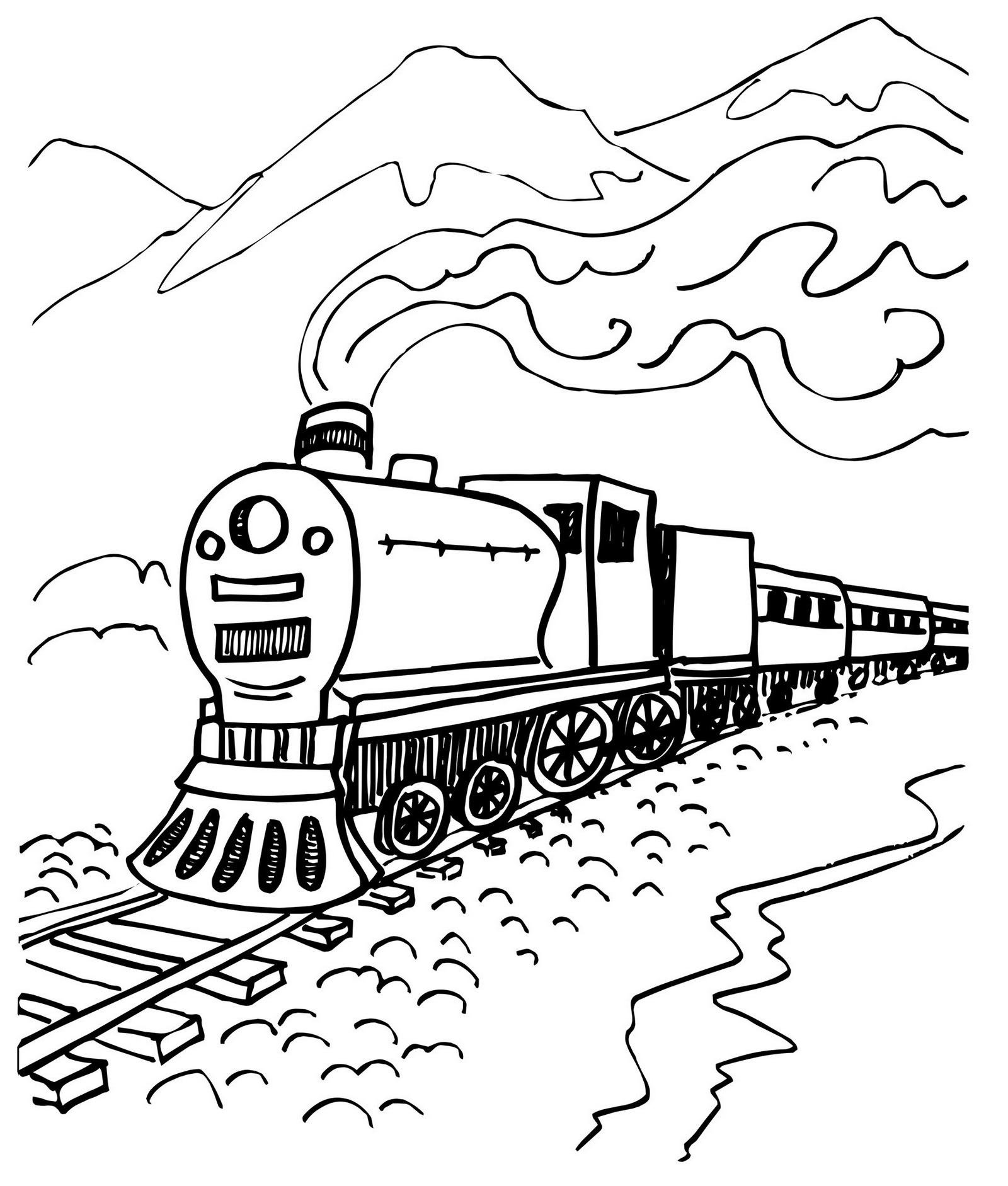 steam train coloring page with mountain scenery