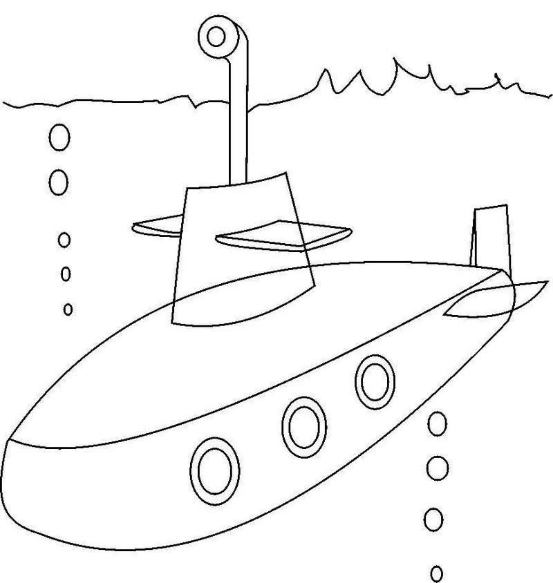 submarine conatiners transport undersea coloring sheet