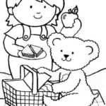 teddy bear preparing for picnic coloring sheet