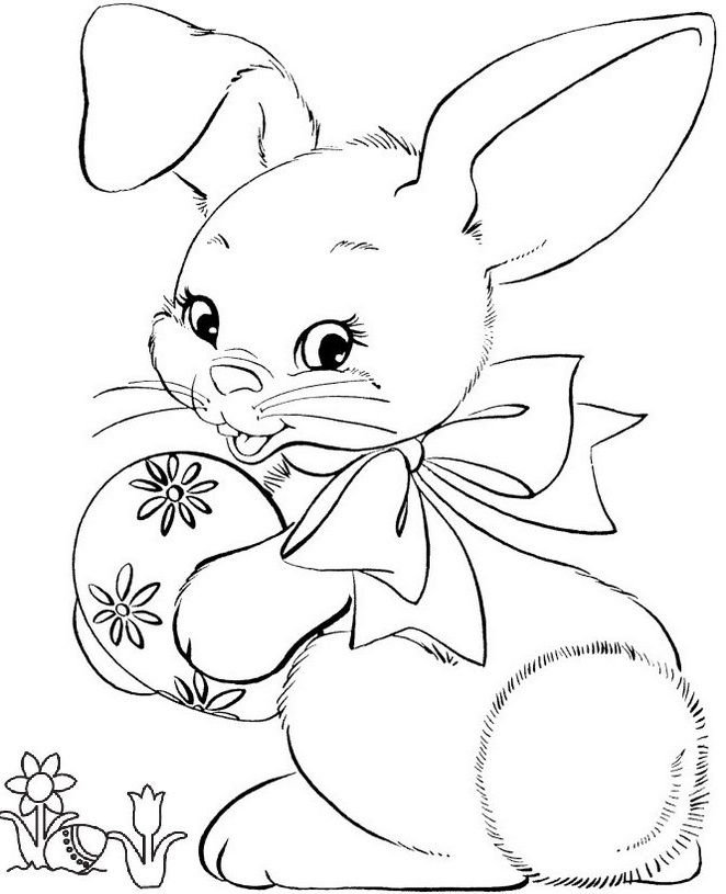 top easter bunny holding egg coloring sheet