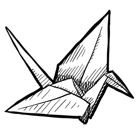 top origami crane bird coloring page