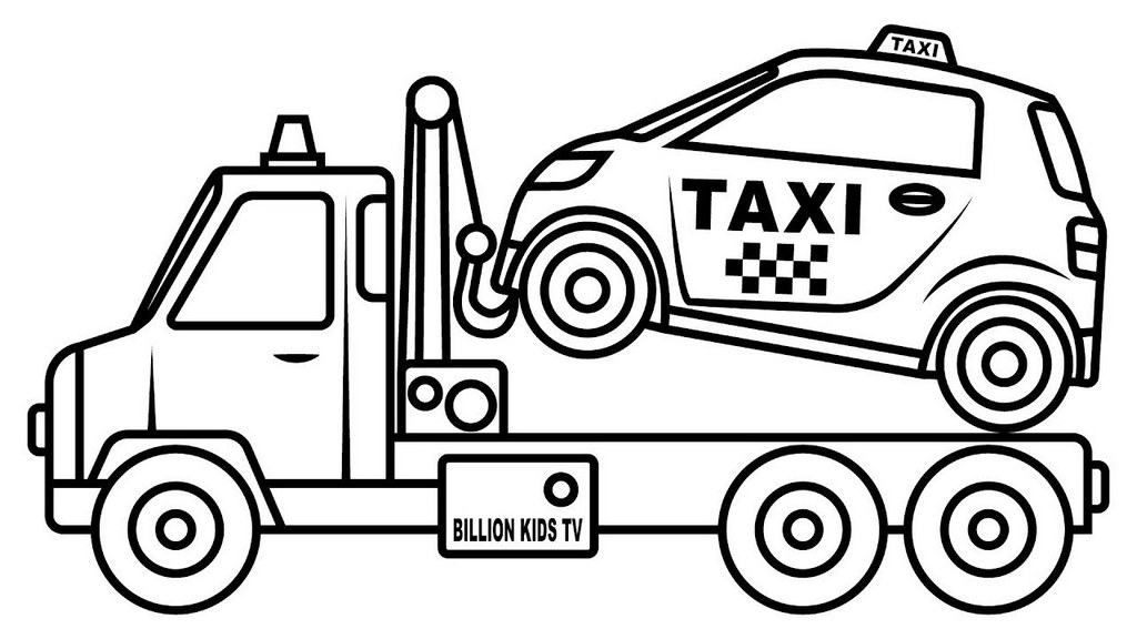 tow truck helping out bringing a taxi coloring sheet