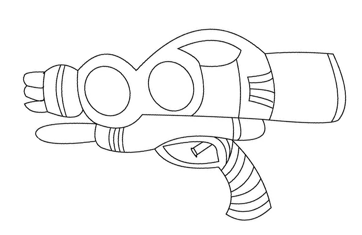water gun toy coloring sheet for small children