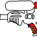 water pistol game coloring picture