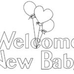 welcome new baby coloring baby shower theme page