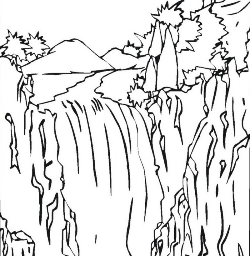 wonderful waterfall coloring sheet for kids