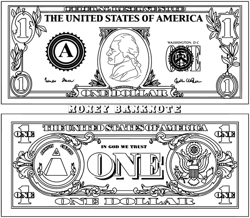 1 Money Clipart Coloring Picture