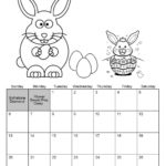 April Calendar Easter theme Coloring Page