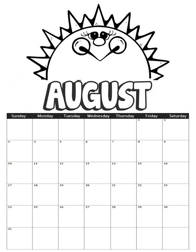 August Calendar Sunny Theme Coloring Page