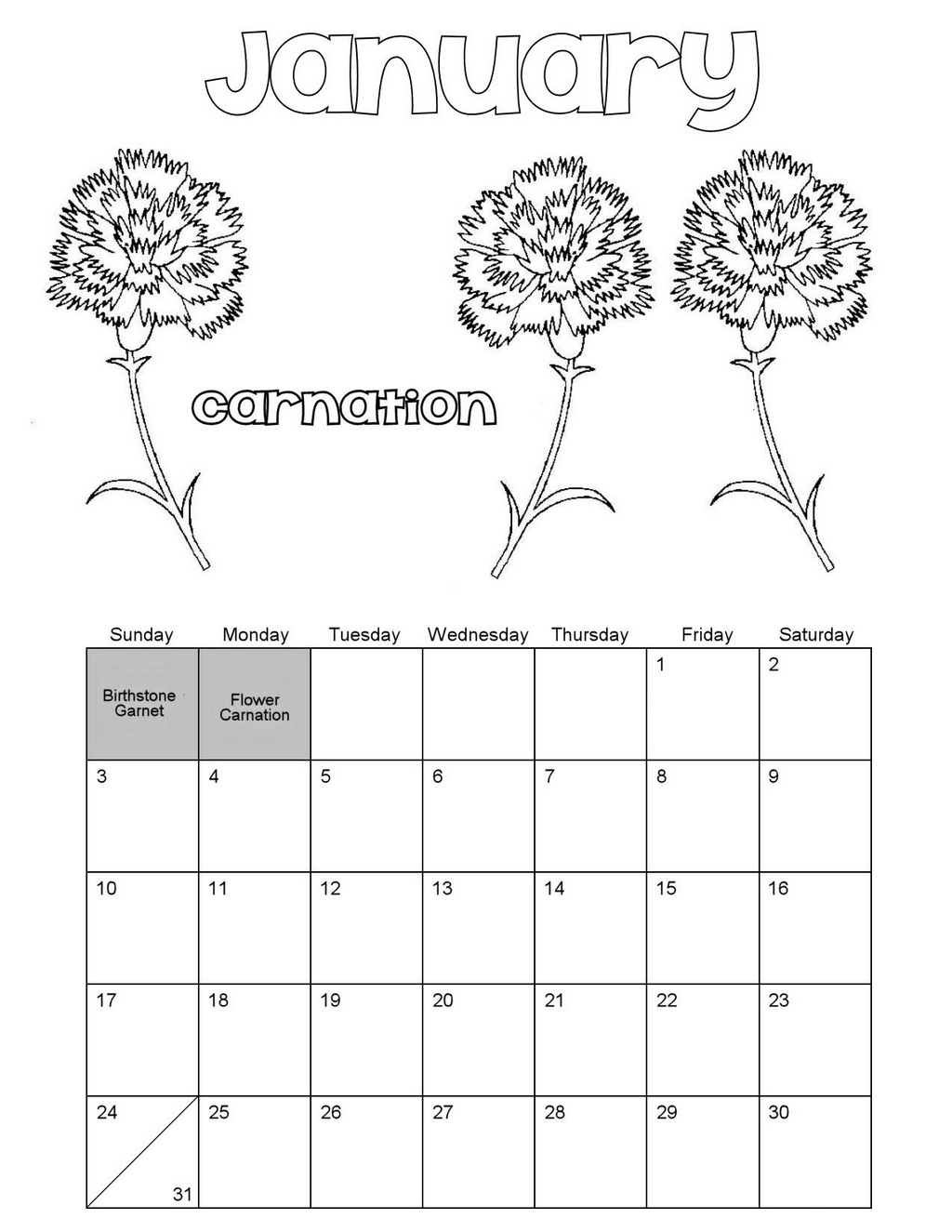 Best January Calendar Coloring Sheet
