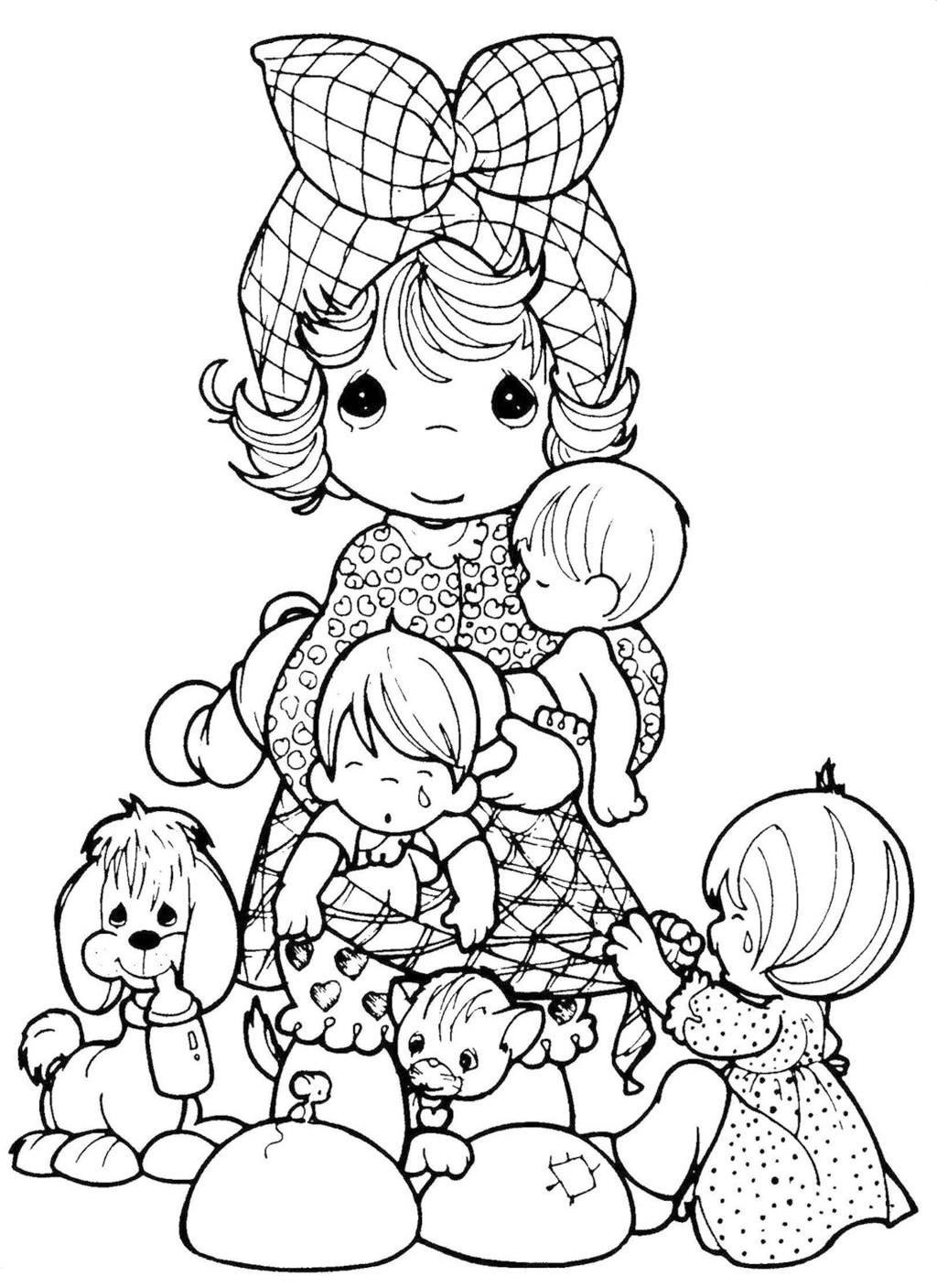 Cute PRECIOUS MOMENTS Baby Shower Coloring Page