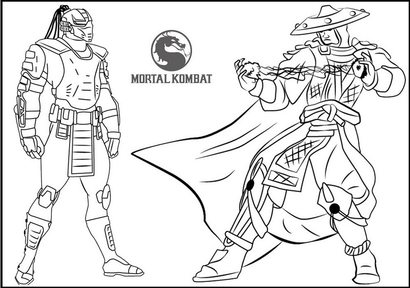 Cyrax Vs Raiden from Mortal Kombat Coloring Page