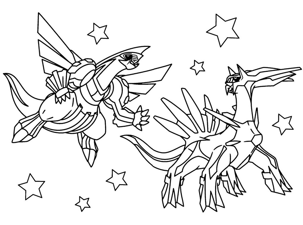 Dialga and Palkia Pokemon Coloring Pages Printable