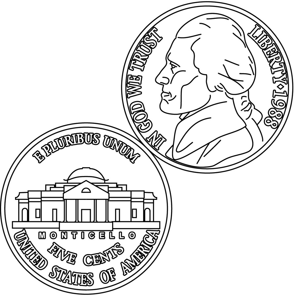 Dollar United State of America Coin Clipart Coloring Page