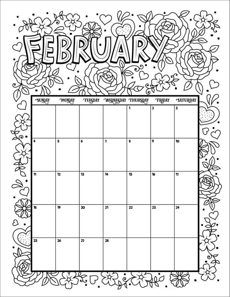 February Calendar Flower theme Coloring Pages