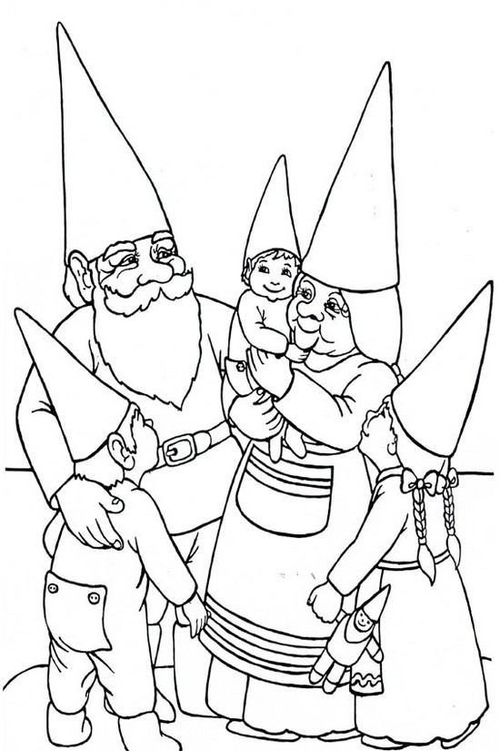 funny finished coloring book pages | Fun Gnome Family Coloring Page for Children